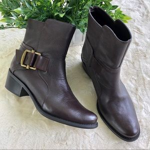 Nine West O-sylvie3Y brown leather ankle boots 7.5